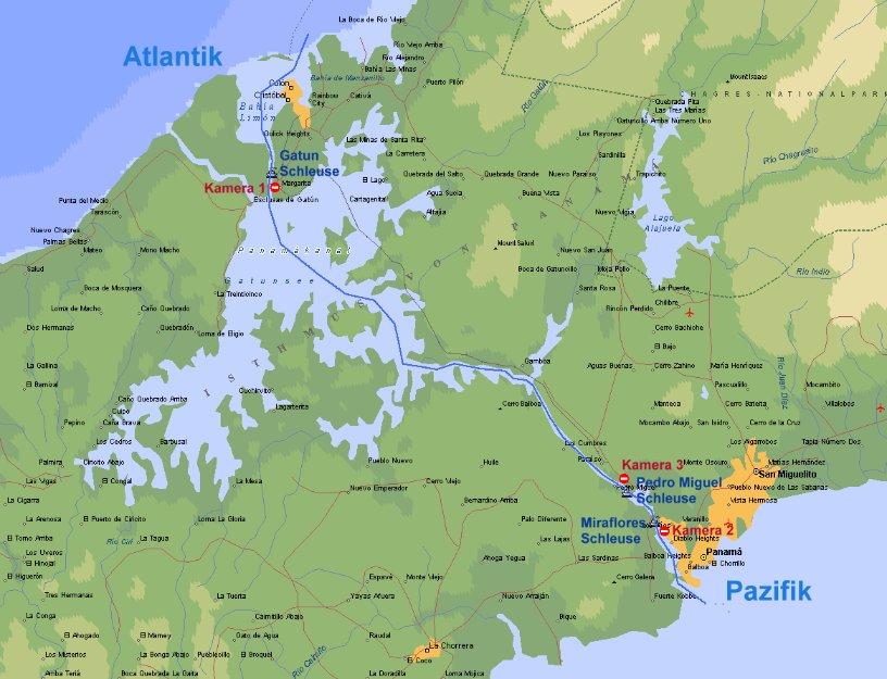 panamakanal karte Kameras am Panamakanal